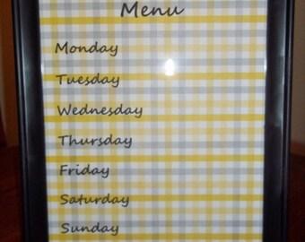 framed dry-erase kitchen menu 8x10
