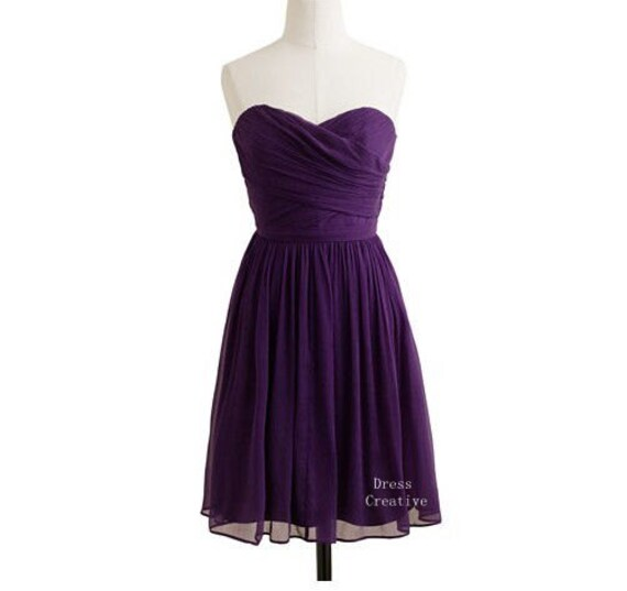 A-Line Sweetheart Short/Knee length Bridesmaid Dress, Dark Purple Chiffon Dress