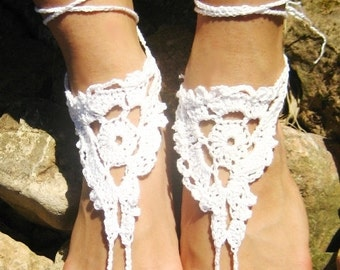 sale off 20% Barefoot sandles WHITE Barefoot sandals, Wedding sandals crochet barefoot sandles, foot jewelry, leg decoration, hippie sandals