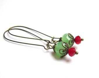 Earrings green Vintage Style