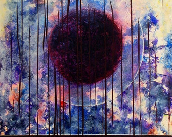 """Metaphysical, absorbing, cosmic painting. Cosmos.  A contemporary acrylic painting.   30"""" x  24"""" x 2"""".  Free U.S. shipping."""