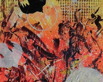 """Blackbird and orbs, abstract and vibrant. ORIGINAL MONOPRINT. """"Hay Left"""" - 18"""" x 12"""". Free U.S. shipping."""
