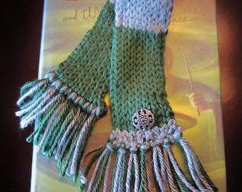 Handmade Knit Slytherin House Bookmark