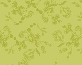 Green Paisley Fabric - Belle Vines in Oasis from LillyBelle by Bari J  for Art Gallery Fabrics LB 2109 - 1/2 yard