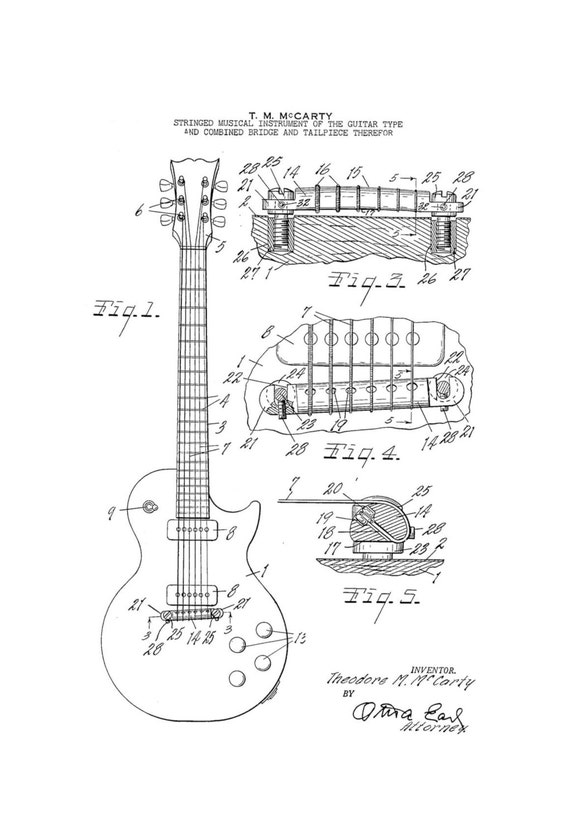 gibson les paul electric guitar 1950 u0026 39 s patent art drawing