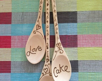 Set of 3 Personalised Spoons with Ribbon & Pyrography Decoration