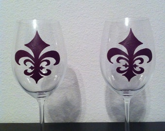 Hand Painted Fleur de Lis Wine Glasses - Set of 2