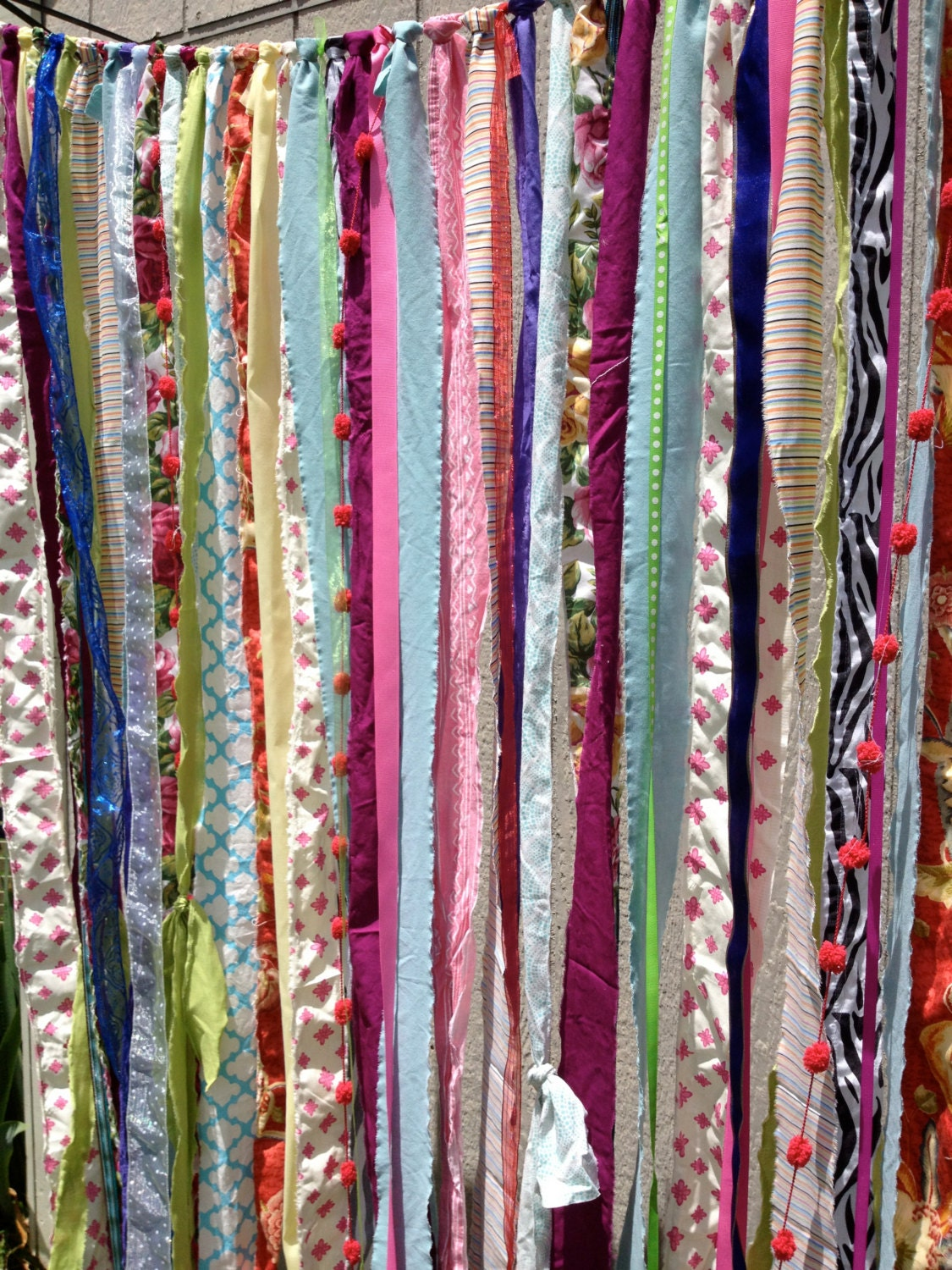 Boho gypsy fabric garland streamers curtain dorm teen for Room decor material