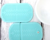 Two Silicone Country Blue Oven Rubber Mitt Hot Pad / Mint Rubber French Country Kitchen