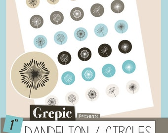 Digital collage sheet: DANDELIONS 1 inch circles digital dandelions for pendants, bottle caps, paper craft