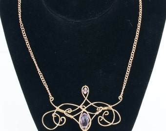 Pink Fairy Tale wire-wrapped necklace