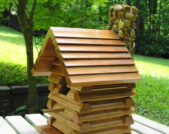 Rustic Log Cabin Birdhouse with Stone Fireplace
