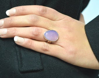 Lilac Chalcedony Ring