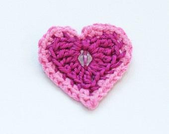 Crochet Heart Brooch - handmade