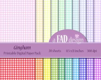 Gingham Paper - DIGITAL Printable Paper Pack - Digital scrapbooking paper