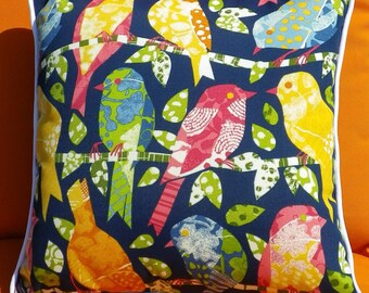 Little Ash Hill, Birds in Navy. 45 x 45cm Indoor /outdoor fabric, fade and water resistant cushion cover