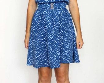 vintage blue polka dots dress
