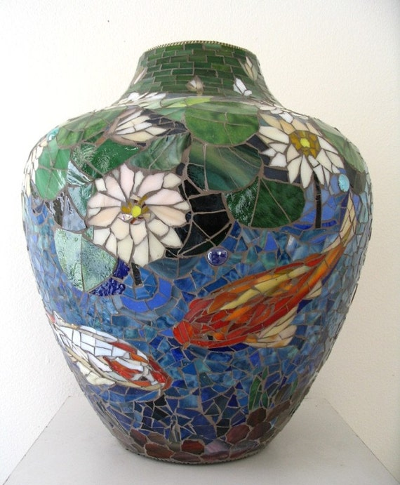 Mosaic vase stained glass mosaic koi fish pond sale for Koi fish vase