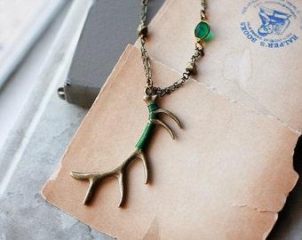 50% OFF Woodland Deer antler necklace, green forest, autumn gift, emerald brass