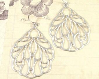 Sierra Earrings / Silver Insect Wing Earrings, Bohemian Jewelry, Silver Butterfly Wing Earrings, Summer Earrings