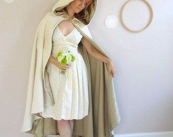 Long Hooded Cape Wool or Velvet Bridal cape