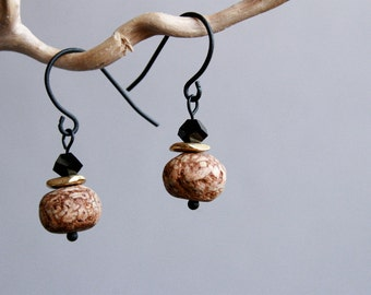 small black earrings with mahogany pod beads and crystals - everyday jewelry - ethnic earrings