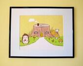 Tree Stump House Giclee Print