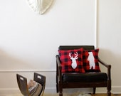Plaid Deer and Bear silhouettes Decorative Pillow Set