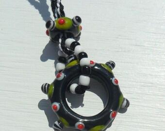 Kumihimo Lampwork Disk Necklace-Black White Lime Artisan Handmade SRA LETEAM Glassymom