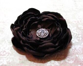 Brown Flower Hair Clip.Brooch.Pin.Headpiece.Bridesmaid.Chocolate Brown.chocolate.Wedding.Autumn.satin flower.fabric.hair piece.accessory
