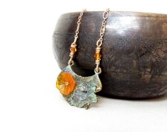 Orange Resin Flower Pendant Copper Necklace Handmade Jewelry Bird Flower Necklace # 95