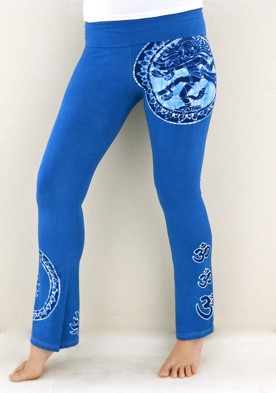 Shiva batik Yoga pants Hand painted & hand dyed women bottoms blue - athletic pants - Size XS, S, M, L, XL