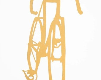 Bike Art -Matthew's Frejus in Gold Ochre -  Bicycle Print