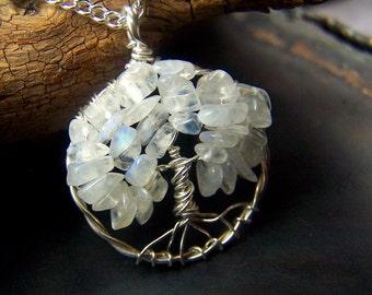 Rainbow Moonstone Tree of LIfe - Rainbow Moonstone necklace - Rainbow Moonstone Pendant - small round Sterling SIlver june birthstone