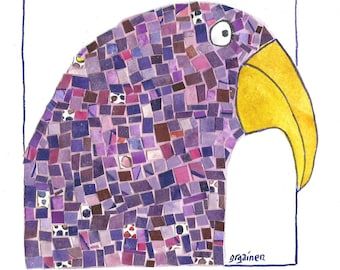 Parrot Art, Purple Parrot Art, Purple Mosaic Parrot, Purple Paper Mosaic Art, Purple Paper Mosaic Print