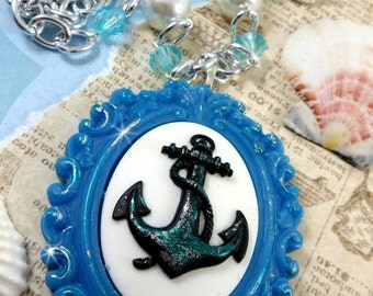 Sailing Away - custom Nautical Cameo Necklace