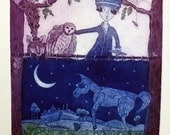 etching, We need a Horse to get Home, blue, lavender, fox, owl, horse, fairytale, moon, stars, printmaking, country style, landscape, night
