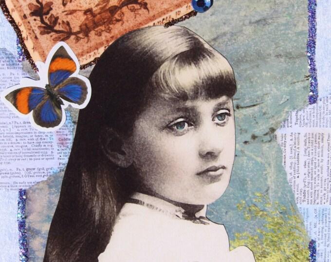 Handmade Collage Art Folded Greeting Card, 3D, Size 5x7, Blank Inside, Girl, Butterflies, IMAGINE