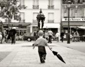 Paris Photography, Paris street scene, Paris retro print, Child with umbrella, Black and white photography,  Little boy