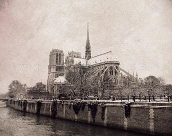 Paris photography, Notre Dame de Paris, Black and white photography, Paris wall decor, winter photography, Paris decor