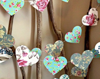 10 ft Paper Heart Garland - Vintage Shabby Chic Roses - wedding decoration, party decoration, baby shower decoration, high tea