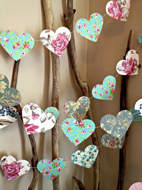 10 ft paper heart garland vintage shabby chic roses. Black Bedroom Furniture Sets. Home Design Ideas