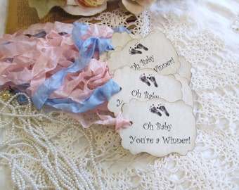 Baby Shower Prize Tags   Baby Feet   Oh Baby Youu0027re A Winner