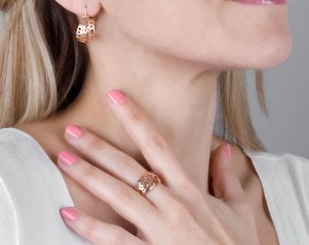 Rose Gold Earrings, Rose Gold Hoop Earrings, Unique Hoops, Delicate Earrings, Small Hoop Earrings, Bubbles Earrings, red gold earrings