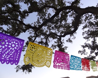 3 custom colored (1 in Red, 1 in Mint, and 1 with alternating red and mint colors)  All Occasion Tissue Paper Papel Picado Banners