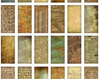 "PAPER SCRAP - Digital Printable Collage Sheet - Vintage Grunge Distressed Book Pages, Old Text & Handwriting, Domino Background, 1"" X 2"""