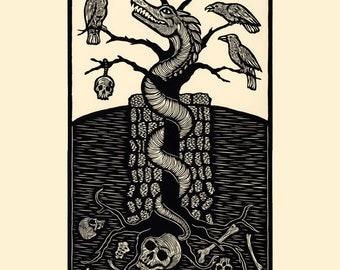 Wyrm woodcut limited edition print