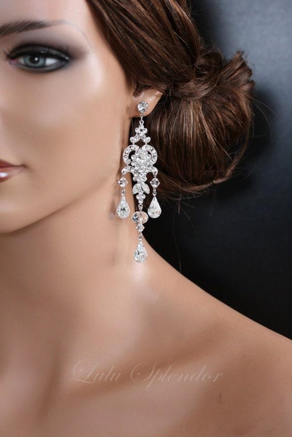 Chandelier Wedding Earrings Swarovski Crystal Bridal Earrings