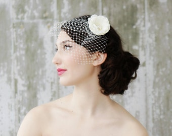 Bridal Blusher Birdcage Veil with Ivory Hair Flower