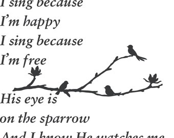 Song I sing because Im happy His eye is on the sparrow Matthew 6: 25-34 Christian Scripture Wall Art Words Vinyl Lettering Decal